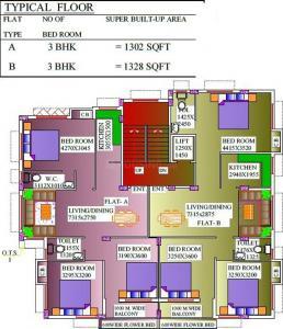 तनिशा सफायर  में खरीदने के लिए 1302.0 - 1328.0 Sq.ft 3 BHK अपार्टमेंट प्रोजेक्ट  की तस्वीर
