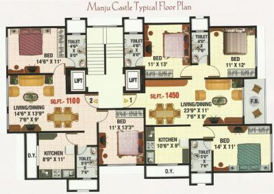 Project Image of 1100 - 1450 Sq.ft 2 BHK Apartment for buy in Sadguru Manju Castle