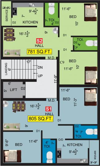 Project Image of 781.0 - 805.0 Sq.ft 2 BHK Apartment for buy in VGK Mithran