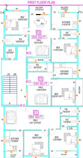 Project Image of 545.0 - 1187.0 Sq.ft 1 BHK Apartment for buy in Vishnu Sai Santhosh