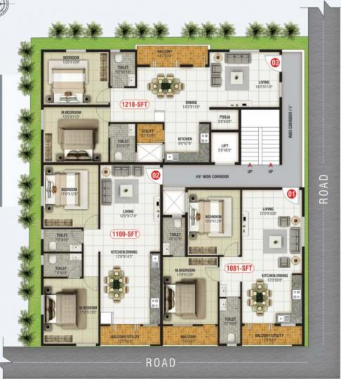 Project Image of 1081.0 - 1218.0 Sq.ft 2 BHK Apartment for buy in SLN Lake Front