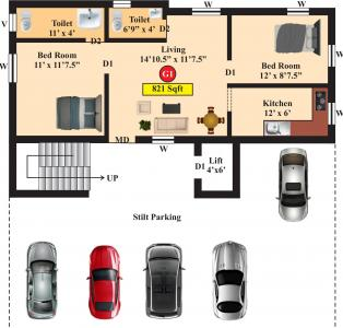 Project Image of 665.0 - 902.0 Sq.ft 2 BHK Apartment for buy in Live Aadhana