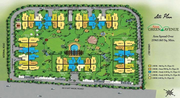 Project Image of 990.0 - 1440.0 Sq.ft 2 BHK Apartment for buy in Aims Golf Town