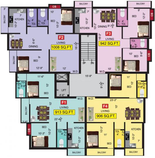 Project Image of 906.0 - 1197.0 Sq.ft 2 BHK Apartment for buy in VGK Samyuktha