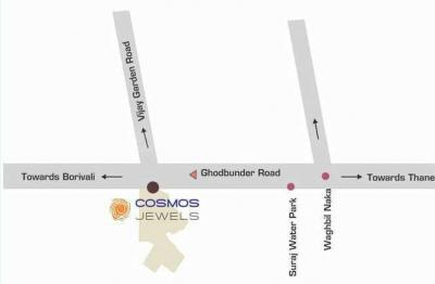 Gallery Cover Image of 1050 Sq.ft 2 BHK Apartment for rent in Cosmos Cosmos Jewels, Thane West for 23000