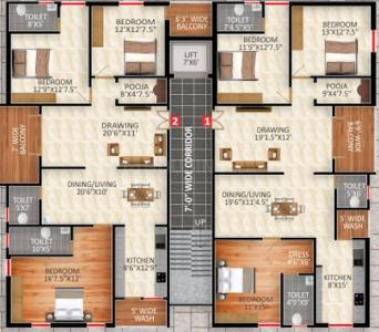 Project Image of 1915.98 - 2034.38 Sq.ft 3 BHK Apartment for buy in Go Green Radha Krishna Mansion