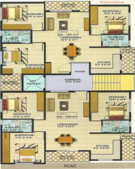 """Project Image of 1386 - 1401 Sq.ft 3 BHK Apartment for buy in A-KNIGHT """"MELODY"""""""