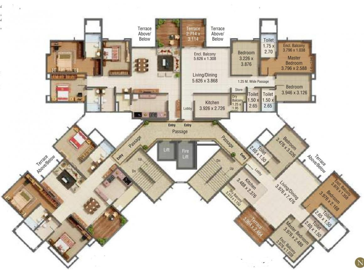 Project Image of 1097.92 - 1106.53 Sq.ft 3 BHK Apartment for buy in Kumar Princetown Royal B2