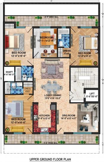 Project Image of 0 - 2700.0 Sq.ft 4 BHK Apartment for buy in Lord Krishna Royal Floors 2