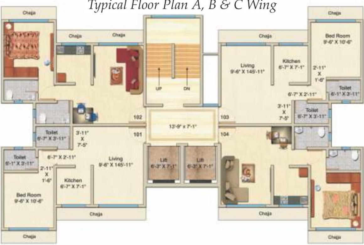 Project Image of 390 - 674.36 Sq.ft 1 BHK Apartment for buy in Hirani Skyview Castle