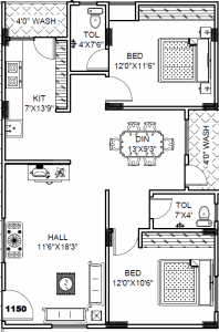 Gallery Cover Image of 1150 Sq.ft 2 BHK Apartment for buy in Bachupally for 3900000