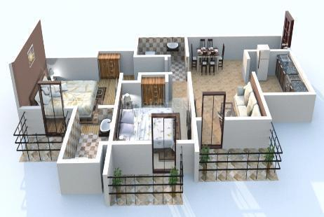 Floor Plan Image of 1625 Sq.ft 3 BHK Apartment for rent in Sector 80 for 19000
