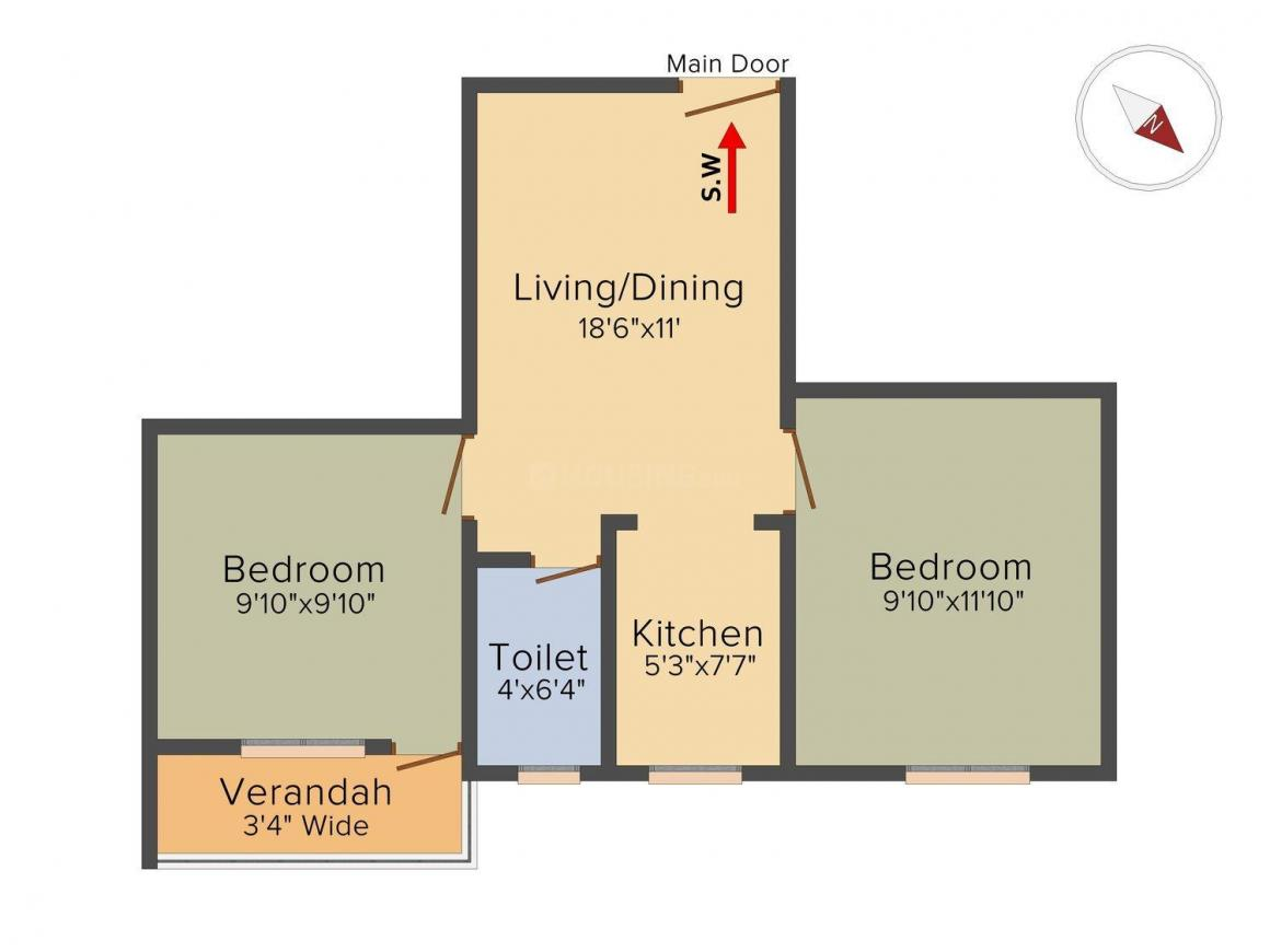 Floor Plan Image of 639 Sq.ft 2 BHK Apartment for buy in Mourigram for 1533600