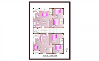 Floor Plan Image of 400 Sq.ft 2 BHK Apartment for buy in Madhura Nagar for 7500000
