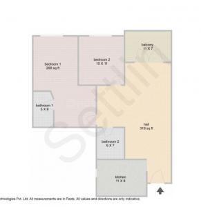 Gallery Cover Image of 1150 Sq.ft 2 BHK Apartment for buy in Remaskyview Apartment, Murugeshpalya for 5900000