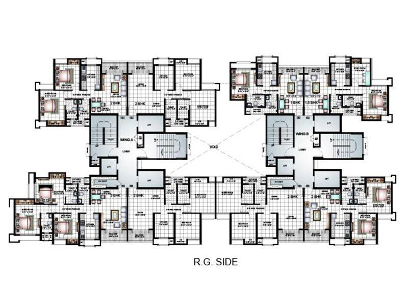 Floor Plan Image of 855 Sq.ft 3 BHK Apartment for buy in Thane West for 14500000