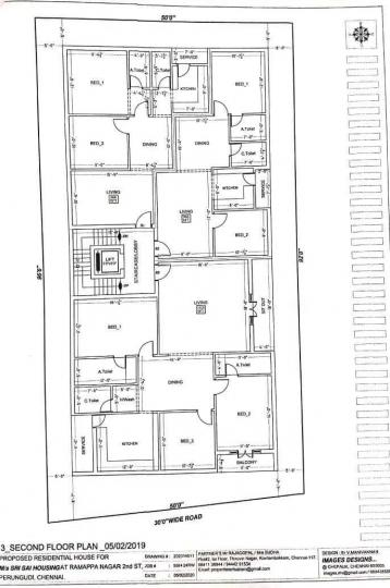 Floor Plan Image of 960 Sq.ft 2 BHK Apartment for buy in Perungudi for 8360000