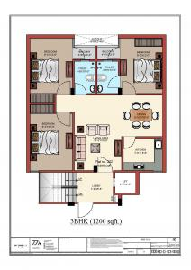 Gallery Cover Image of 1200 Sq.ft 3 BHK Apartment for buy in Sitapura for 2800000