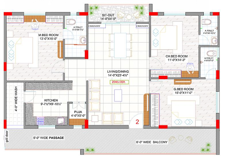Floor Plan Image of 2000 Sq.ft 3 BHK Apartment for buy in Puppalaguda for 8900000