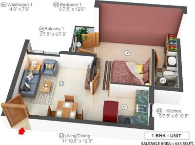 Gallery Cover Image of 730 Sq.ft 1 BHK Apartment for buy in Doshi Euphoria, Perungudi for 5252350