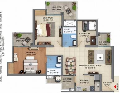 Gallery Cover Image of 998 Sq.ft 2 BHK Apartment for buy in Victory Central, Noida Extension for 3090000