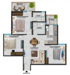 Gallery Cover Image of 900 Sq.ft 3 BHK Apartment for buy in Sarvome Shree Homes, Sector 45 for 3100000