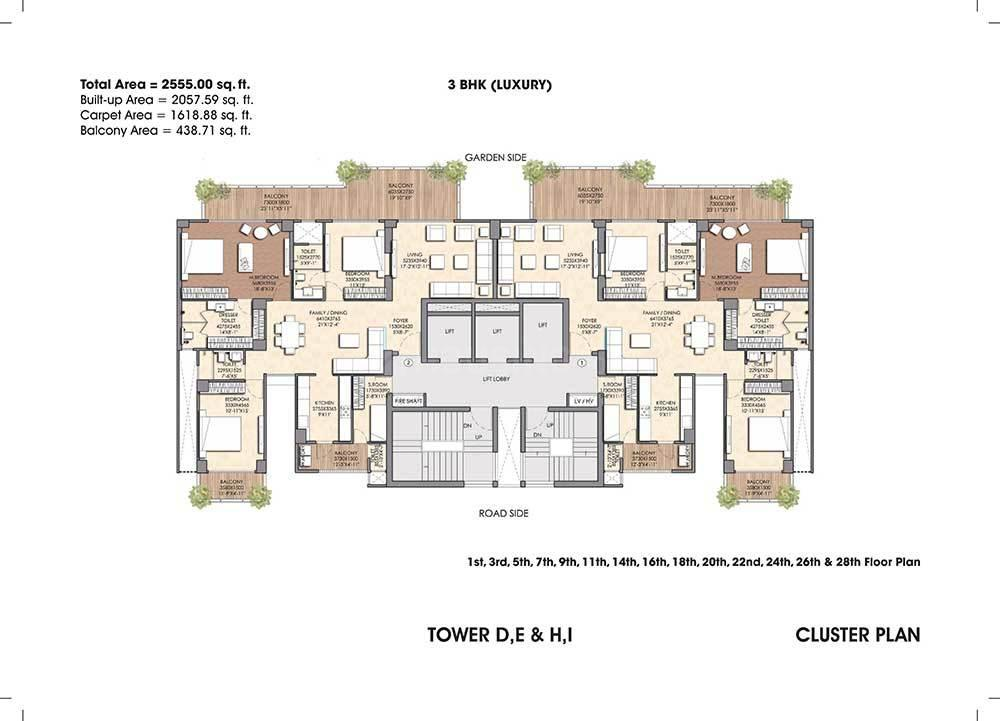 Floor Plan Image of 2555 Sq.ft 3 BHK Apartment for buy in Sector 150 for 12647250