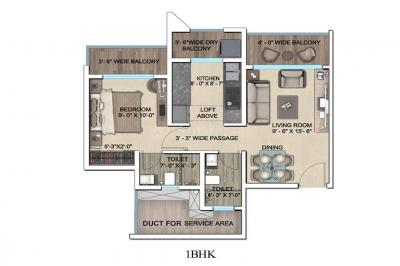 Gallery Cover Image of 686 Sq.ft 1 BHK Apartment for buy in Regency Anantam, Dombivli East for 4800000