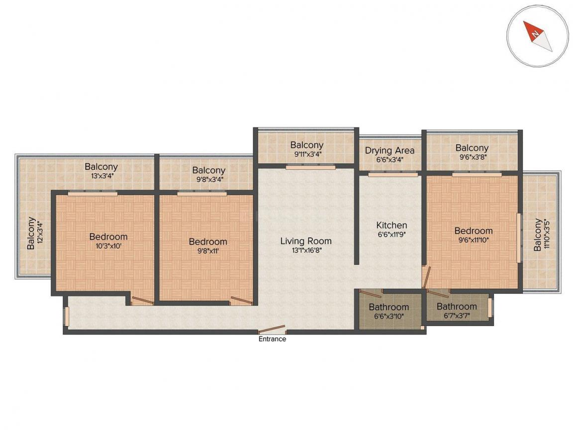 Floor Plan Image of 1500 Sq.ft 3 BHK Apartment for buy in Andheri East for 21000000