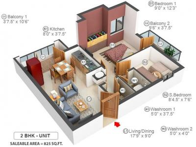 Gallery Cover Image of 825 Sq.ft 2 BHK Apartment for buy in Doshi Euphoria, Perungudi for 5935875