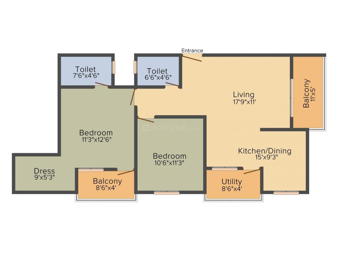 Floor Plan Image of 1149 Sq.ft 2 BHK Apartment for buy in Bilekahalli for 4500000