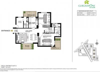 Gallery Cover Image of 1427 Sq.ft 2 BHK Apartment for buy in Gurgaon One 84, Sector 84 for 8500000