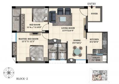 Gallery Cover Image of 1170 Sq.ft 2 BHK Apartment for buy in SK Pravins Lavender, Korattur for 6735000