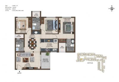 Gallery Cover Image of 1446 Sq.ft 3 BHK Apartment for buy in Casagrand Asta , Korattur for 8674554