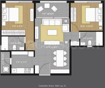 Gallery Cover Image of 1000 Sq.ft 2 BHK Apartment for rent in Amanora Future Towers, Hadapsar for 25000