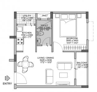 Floor Plan Image of 538 Sq.ft 1 BHK Apartment for buy in Krishnarajapura for 3500000