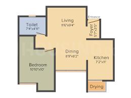 Floor Plan Image of 691 Sq.ft 1 BHK Apartment for buy in Chikkakannalli for 4400000