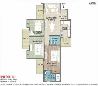Gallery Cover Image of 1570 Sq.ft 3 BHK Apartment for buy in Express Astra, Noida Extension for 6594000