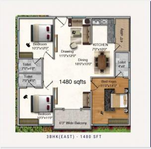 Gallery Cover Image of 1480 Sq.ft 3 BHK Apartment for buy in Bachupally for 8000000