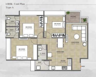 Gallery Cover Image of 1550 Sq.ft 3 BHK Apartment for buy in Sarkhej- Okaf for 3565000