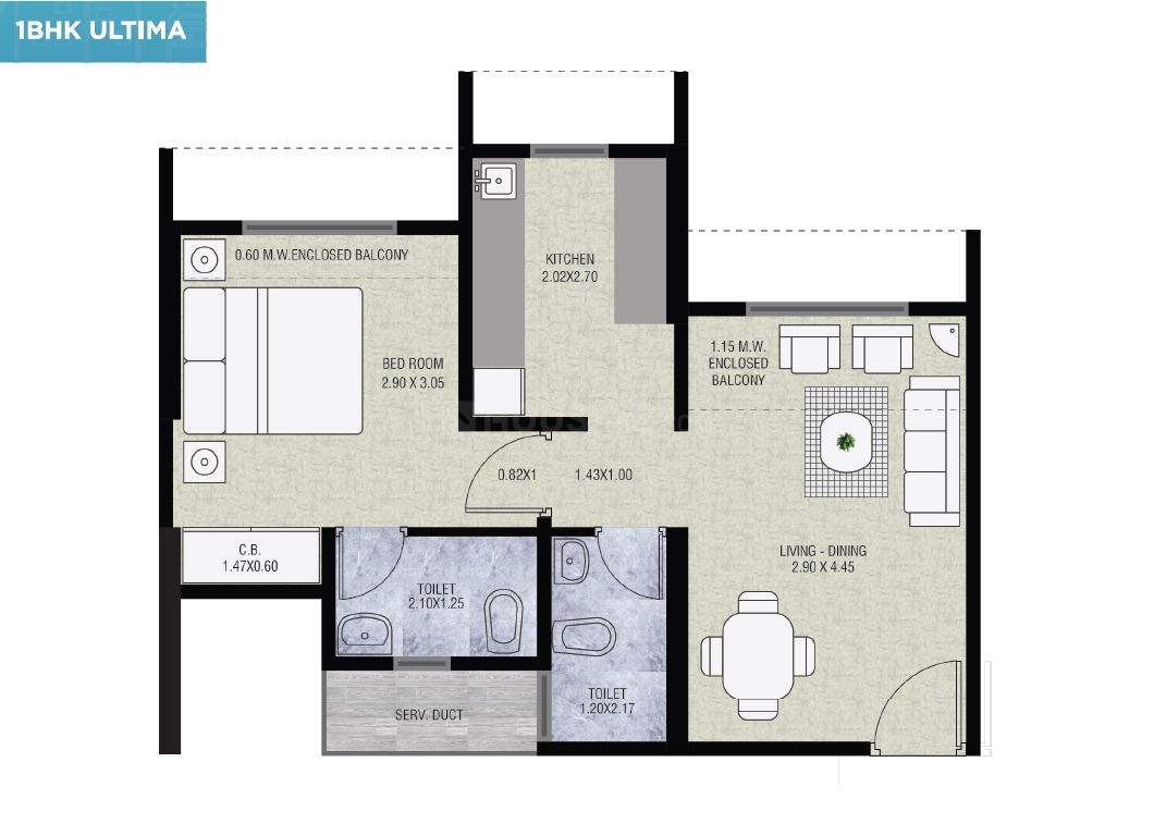 Floor Plan Image of 357 Sq.ft 1 BHK Independent House for buy in Thane West for 4497000