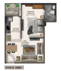 Gallery Cover Image of 375 Sq.ft 1 RK Apartment for buy in Advitya Homes, Sector 143 for 1514914