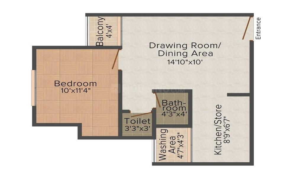 Floor Plan Image of 650 Sq.ft 1 BHK Apartment for buy in Sarkhej- Okaf for 2700000