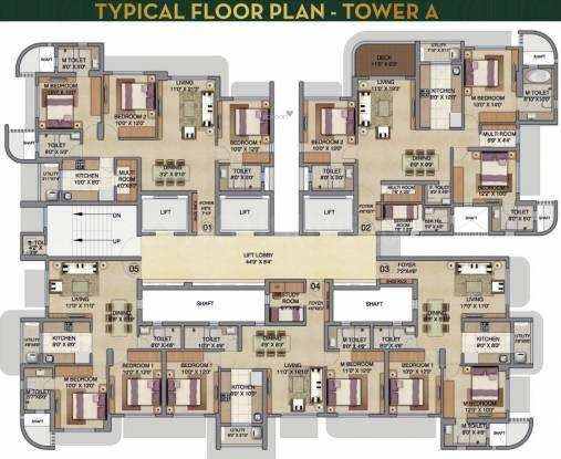 Floor Plan Image of 1350 Sq.ft 3 BHK Apartment for buy in Jogeshwari West for 26600000