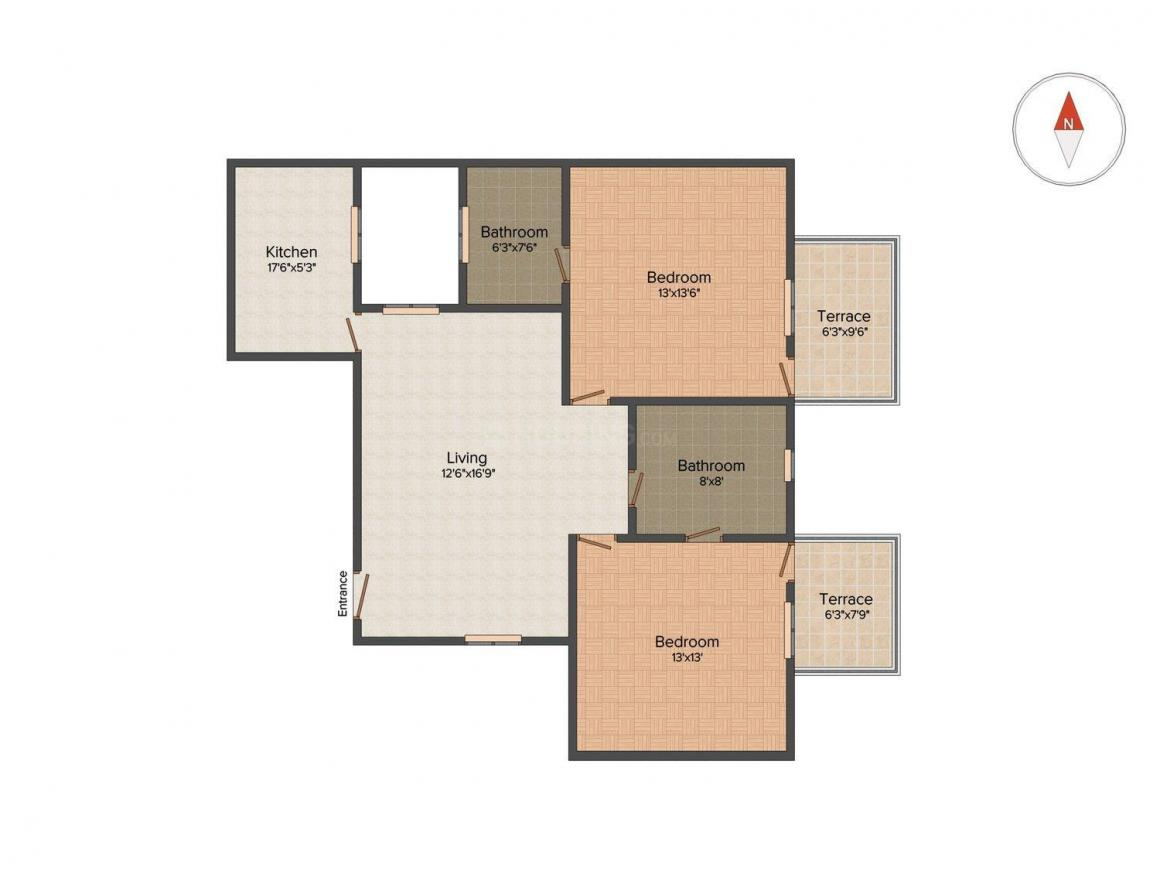 Floor Plan Image of 810 Sq.ft 2 BHK Apartment for buy in Aya Nagar for 3500000
