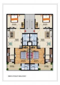 टीएचवी हेरिटेज फ्लोर्स, नोएडा एक्सटेंशन  में 2050000  खरीदें  के लिए 950 Sq.ft 2 BHK अपार्टमेंट के फ्लोर प्लान  की तस्वीर