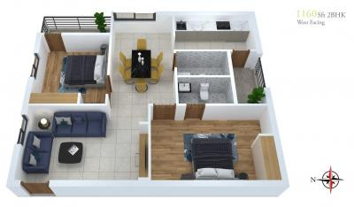 Gallery Cover Image of 1160 Sq.ft 2 BHK Apartment for buy in Muthangi for 2600000