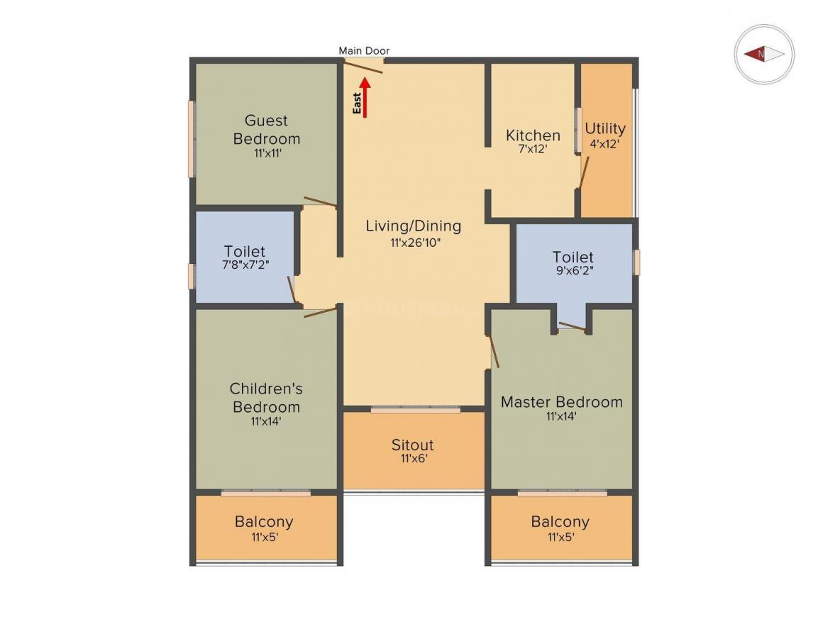 Floor Plan Image of 1590 Sq.ft 3 BHK Apartment for buy in Gottigere for 7950000