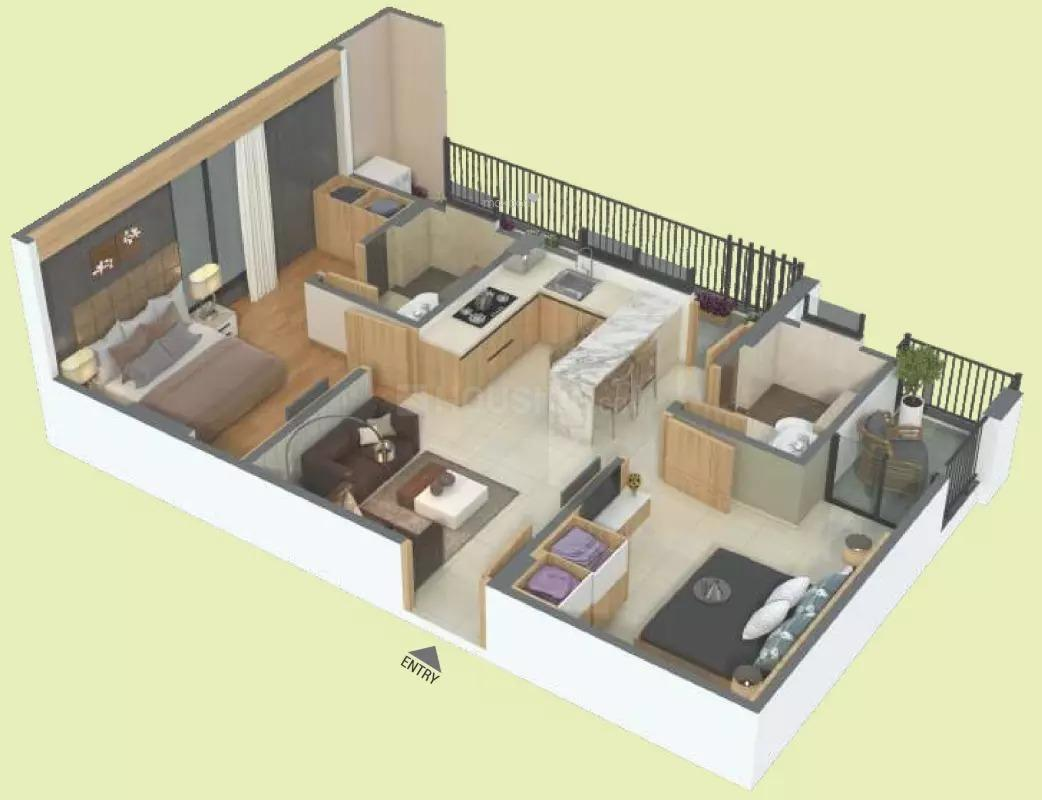Floor Plan Image of 870 Sq.ft 2 BHK Apartment for buy in Tonk Phatak for 4176000