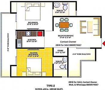 Gallery Cover Image of 1095 Sq.ft 2 BHK Apartment for buy in Nirala Eden Park 1, Ahinsa Khand for 5308460